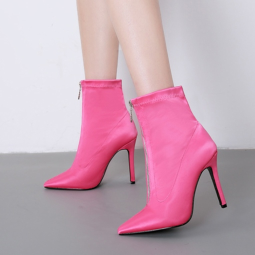Front Zipper Stiletto Heel Pointed Toe PU Sexy Ankle Boots for Women