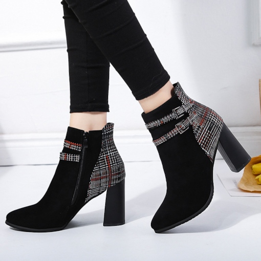Buckle Suede Plaid Patchwork Pointed Toe Chunky Heel Chic Ankle Boots