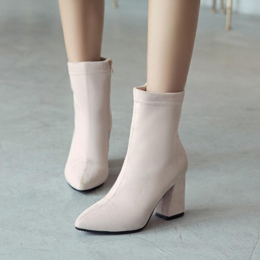 Side Zipper Suede Round Toe Chunky Heel Plain Women's Ankle Boots