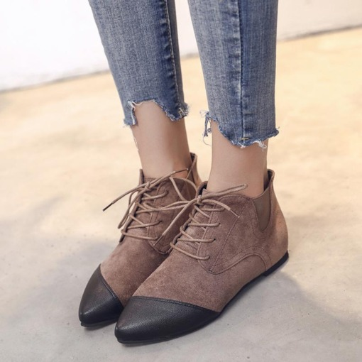 Lace-Up Front Suede Pointed Toe Block Heel Flat Ankle Boots