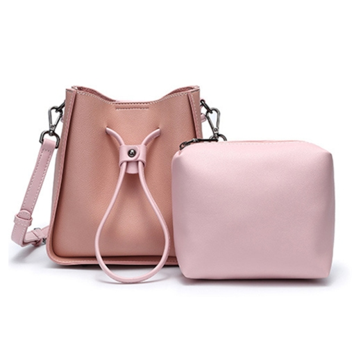 Plain PU Thread Barrel-Shaped String Bag Set