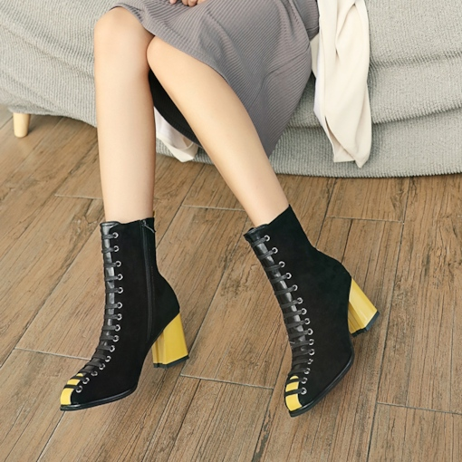 Side Zipper Color Block T-Bar Chunky Heel Casual Women's Ankle Boots