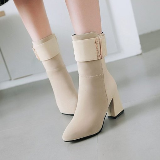 Chunky Heel Pointed Toe Casual Elegant Women's Mid Calf Boots