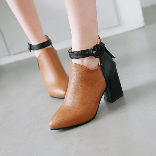 Color Block Back Zip PU Pointed Toe Chunky Heel Buckle Ankle Boots