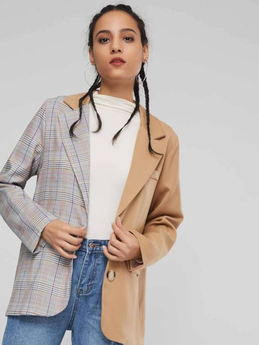 Notched Lapel Color Block Plaid Women's Jacket