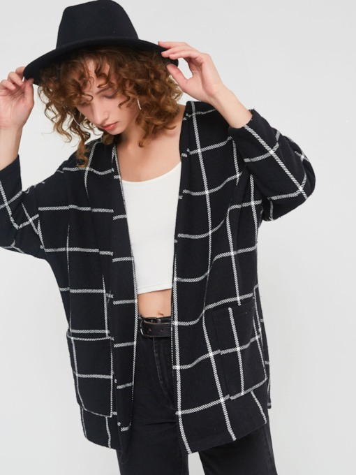Loose Raglan Sleeve Pocket Plaid Mid-Length Women's Coats