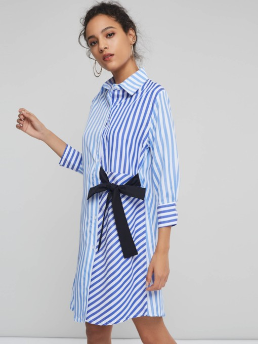 Stripe Lace Up Color Block Women's Long Sleeve Dress