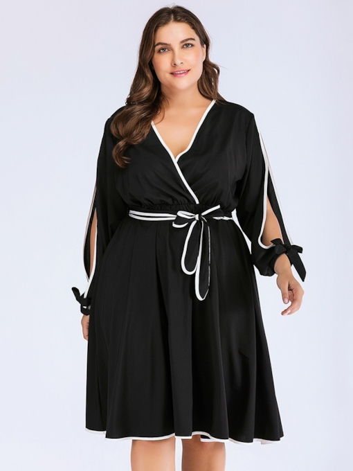 Hollow Bowknot V-Neck Women's Long Sleeve Dress