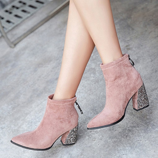 Rhinestone Back Zip Pointed Toe Chunky Heel Sparkly Ankle Boots