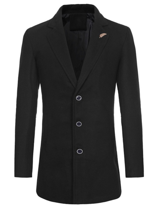 Plain Lapel Slim Mid-Length Men's Coat