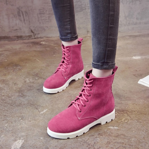 Lace-Up Front Round Toe Block Heel Plain Fashion Martin Boots