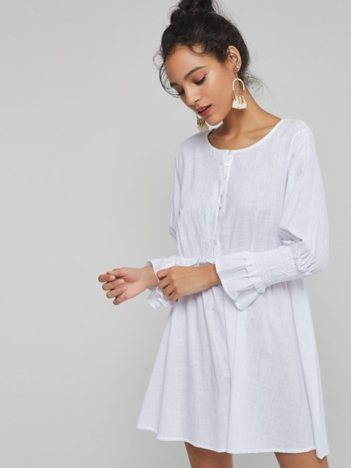 White Pleated Button Women's Long Sleeve Dress