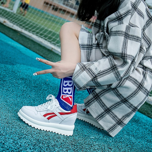 Lace-Up Platform Round Toe Elevated White Sneakers for Women