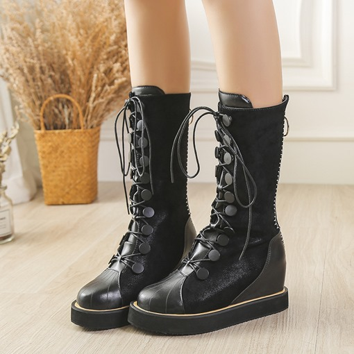 PU Round Toe Back Zip Rivet Elevated Chic Women's Mid Calf Boots