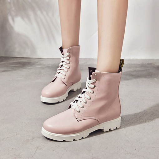 Lace-Up Front Round Toe Block Heel Plain Chic Martin Boots for Women