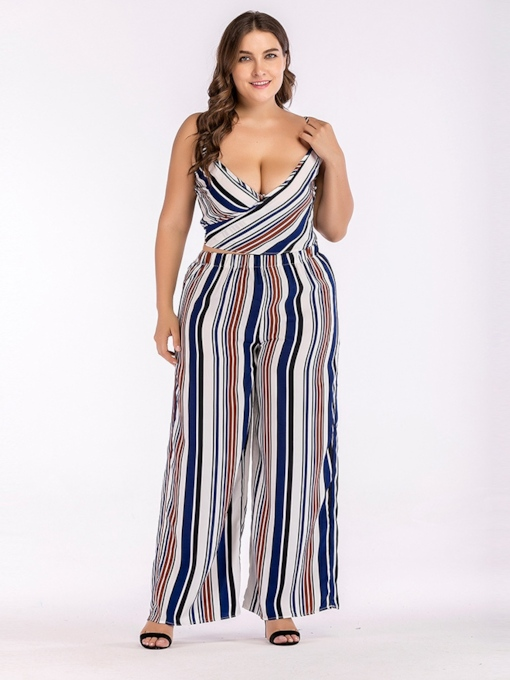 Plus Size Stripe V Neck Strap Women's Jumpsuit
