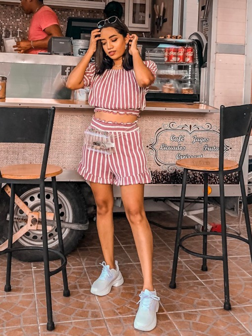 Stripe Short Sleeve T-Shirt and Shorts Women's Two Piece Set