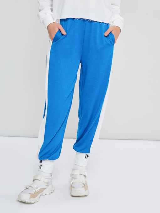 Letter Print Color Block Women's Harem Pants