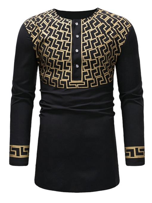 Dashiki Printed Scoop Neckline Men's T-Shirt