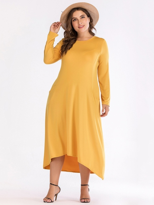 Asymmetrical Pocket Plain Women's Long Sleeve Dress