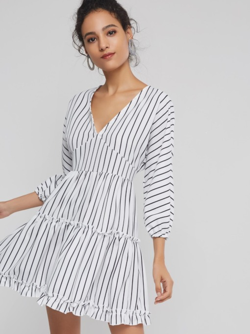 Stripe V-Neck 3/4 Length Sleeves Women's Day Dress
