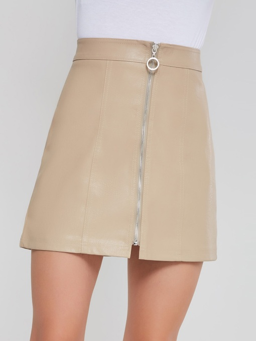 High Waist A Line Zipper PU Women's Mini Skirt