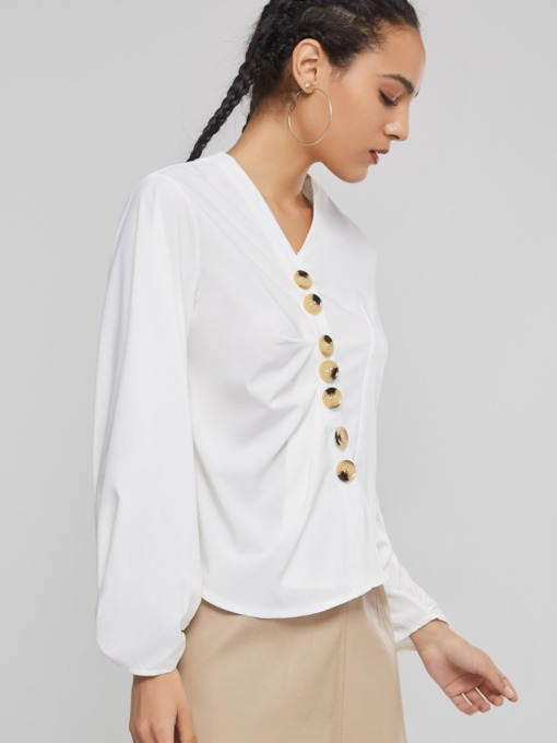 Slim Puff Sleeve Single-Breasted Women's Blouse