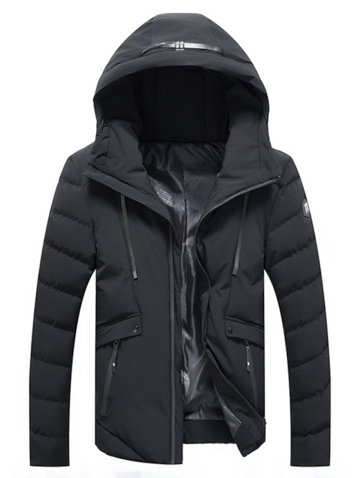 Slim Hooded Plain Men's Winter Coat