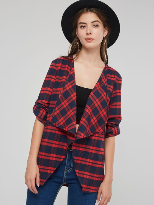 Loose Lapel Color Block Plaid Mid-Length Women's Coats
