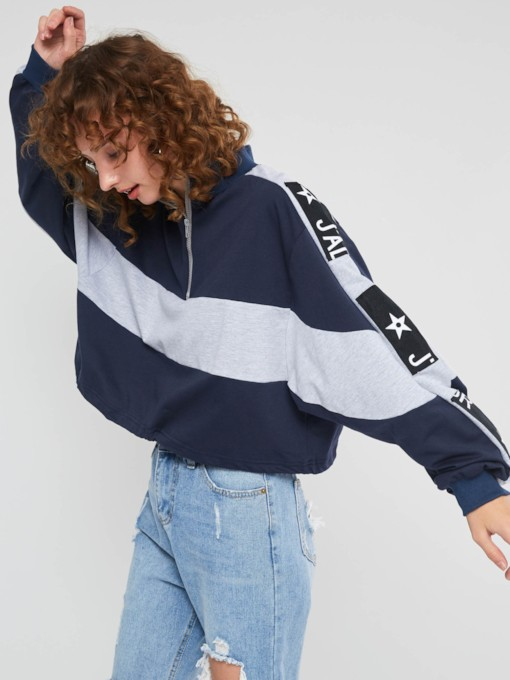 Color Block Letter Print Pullover Women's Hoodie