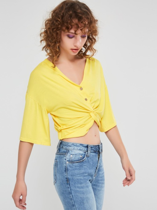Plain V-Neck Half Sleeve Women's Cropped Blouse
