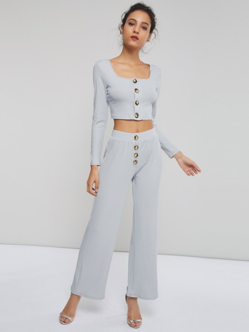 Casual Square Neck Button Top and Pants Women's Two Piece Set