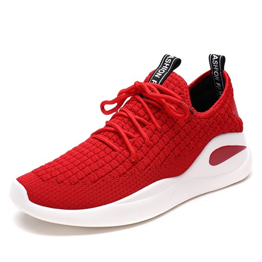 Round Toe Mesh Flat Heel Lace-Up Casual Men's Sneakers
