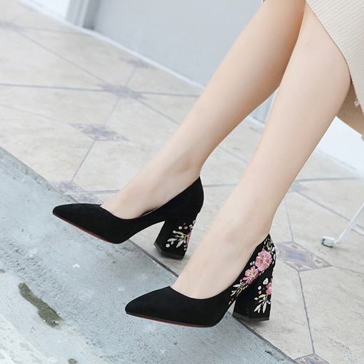 Floral Pointed Toe Chunky Heel Embroidered Elegant Women's Pumps