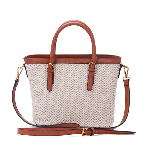 Color Block Belt-Decorated PU Barrel-Shaped Knitted Tote Bags
