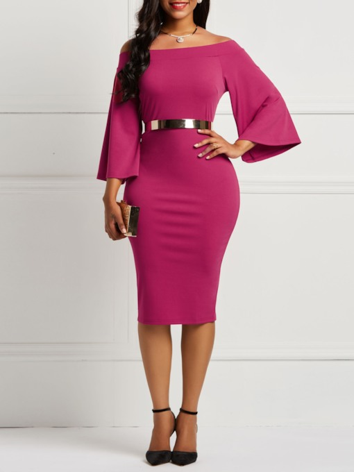 Slash Neck Three-Quarter Sleeve Plain Women's Bodycon Dress