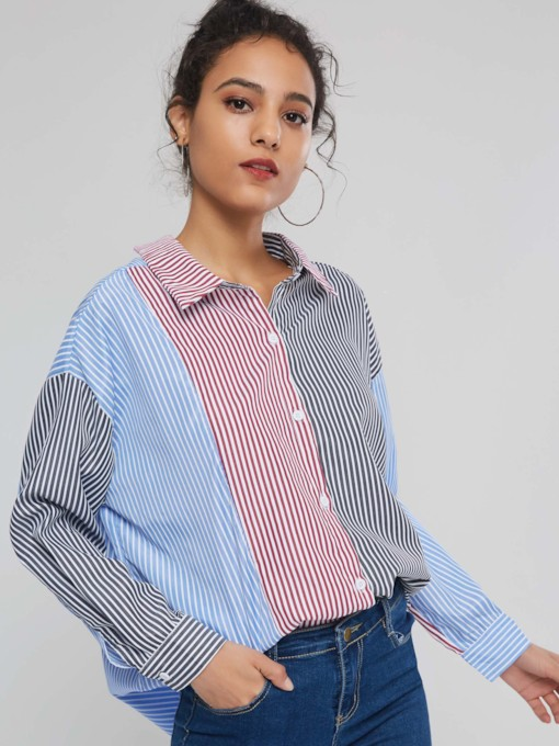 Loose Color Block Stripe Mid-Length Women's Shirt