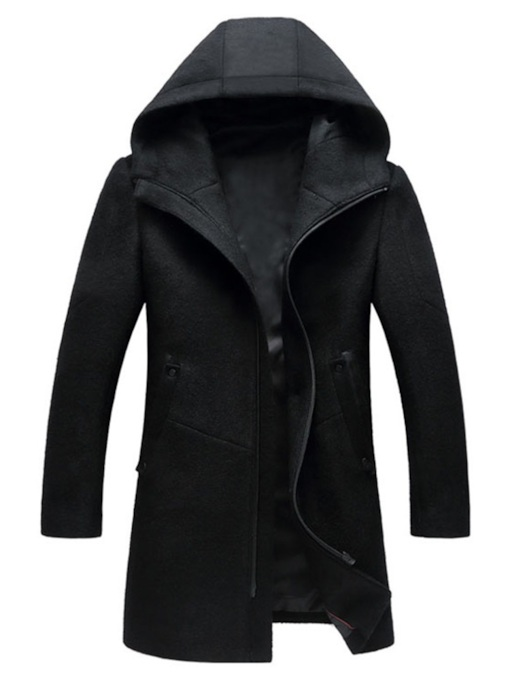 Slim Plain Hooded Mid-Length Men's Woolen Coat