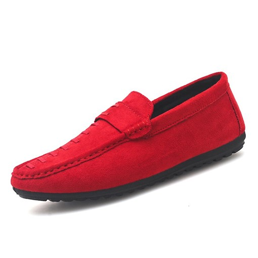 Suede Round Toe Flat Heel Slip-On Thread Men's Loafers