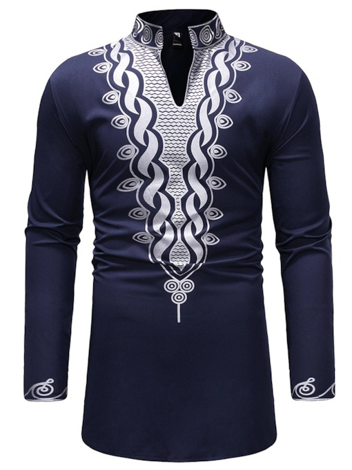Dashiki Mid-Pattern SlimStand Collar Men's T-Shirt