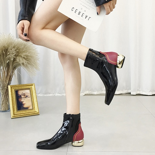 Side Zipper Square Toe Patchwork PU Block Heel Fashion Ankle Boots