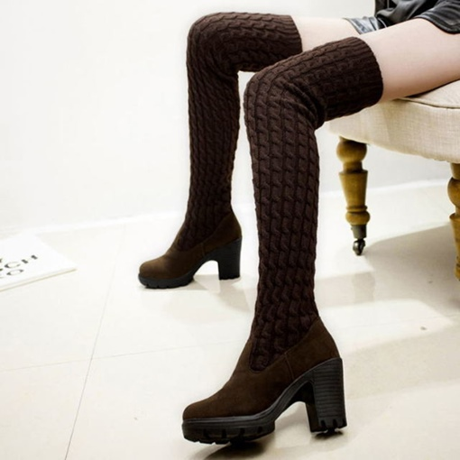 Suede Slip-On Round Toe Purfle Chunky Heel Casual Thigh High Boots