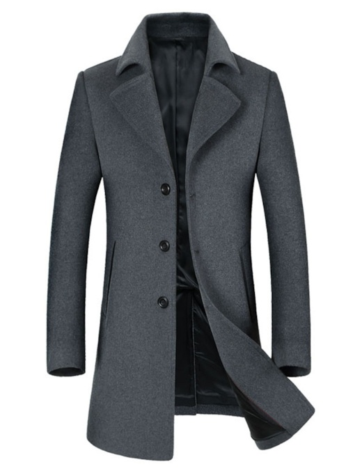 Slim Lapel Mid-Length Plain Color Men's Coat