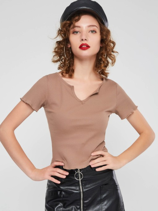 Plain Slim V-Neck Thread Women's T-shirt