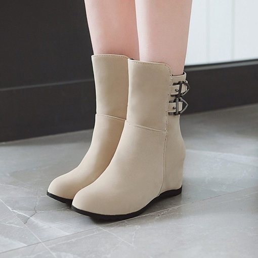 Side Zipper Round Toe Buckle Elevated Casual Ankle Boots