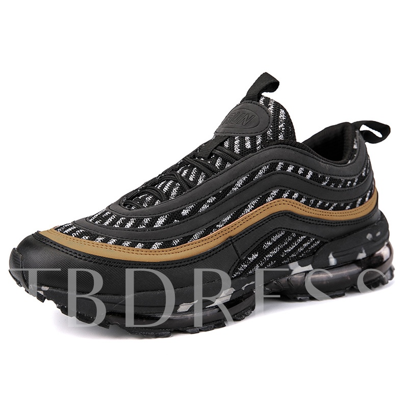 Round Toe Color Block Lace-Up Mesh Casual Men's Trainers