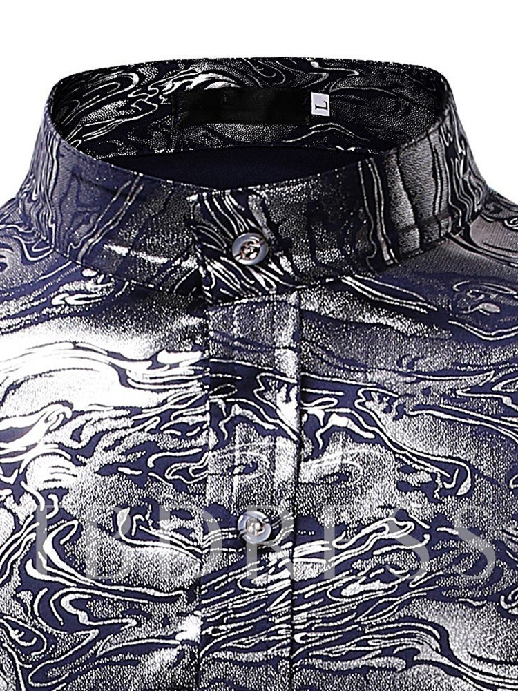 Stand Collar Floral Printed Men's Shirt