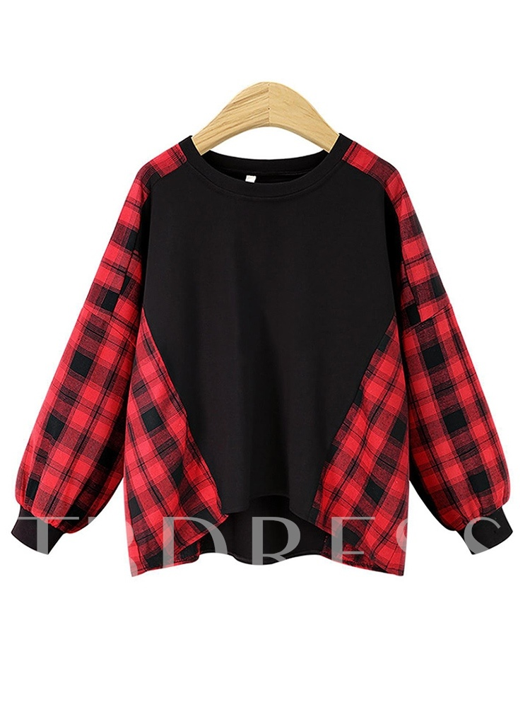 Christmas Long Sleeve Round Neck Plaid Mid-Length Plus Size Women's T-Shirt
