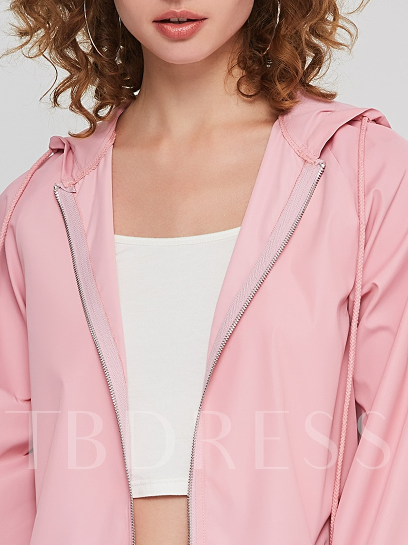Straight Zipper Mid-Length Hooded Women's Jackets