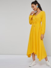 Single-Breasted Long Sleeve Women's Maxi Dress